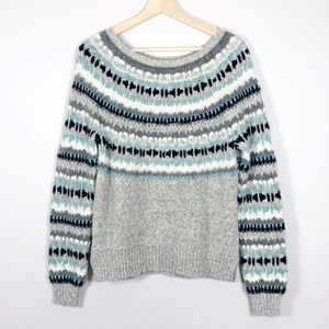LOFT Gray Fair Isle Nordic Wool Blend Sweater